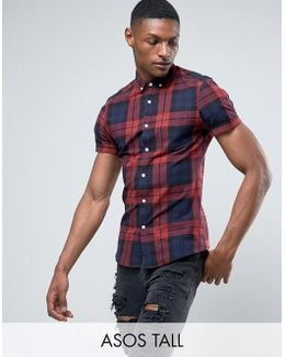 Tall Stretch Slim Check Shirt In Burgundy