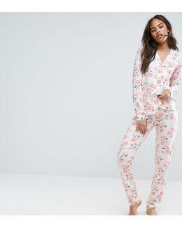 Botanical Floral Shirt And Pant Pajama Set