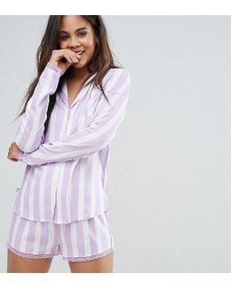 Candy Stripe Shirt And Short With Lace Trim Pyjama Set
