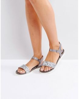 Lela Grey Leather Flat Sandal