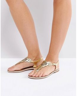 Lill Laser Cut Leather Flat Sandal