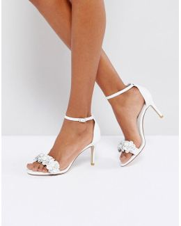 Magnolea Rose Gold Flower Trim Heel Sandal