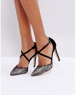 Cordelia Lace Heel Court Shoe