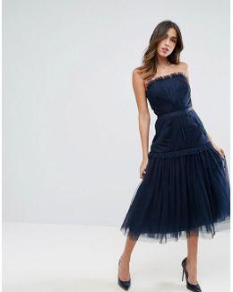 Strapless Paneled Drop Waist Tulle Midi Dress