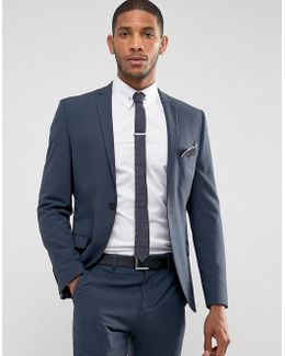 Super Skinny Suit Jacket In Stretch In Navy