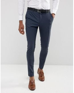 Super Skinny Suit Pants In Stretch In Navy