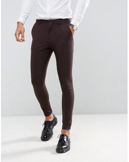 Super Skinny Suit Trousers In Burgundy Check
