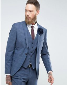 Skinny Wedding Suit Jacket In Blue Check
