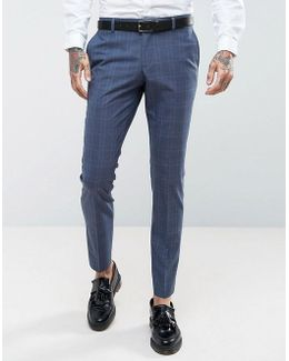 Skinny Wedding Suit Trousers In Blue Check