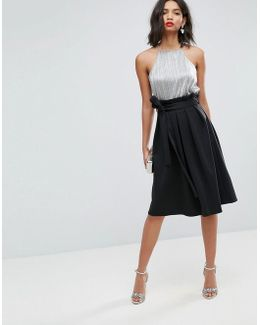 Scuba Prom Skirt With Paperbag Waist