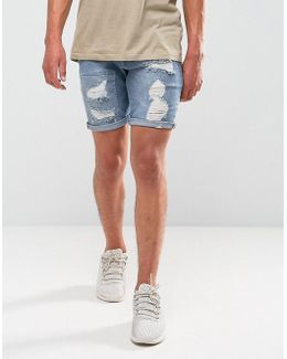 Denim Shorts In Skinny Mid Wash Vintage Blue Biker