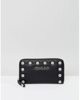 Jeans Zip Around Wallet With Circular Studs