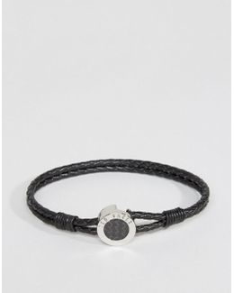 Carbon Fibre Leather Bracelet In Black
