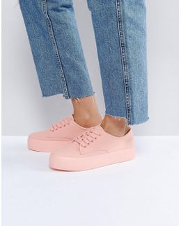 Canvas Pink Flatform Sneaker