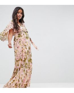 Pleated Flutter Sleeve Maxi Dress In Floral Print