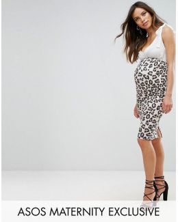 Over The Bump Midi Skirt In Lepard Print