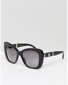 Cat Eye Sunglasses With Leather Trim