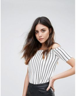 Striped Cold Shoulder Oversized Top