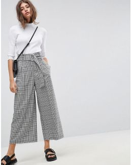Tailored Check Culotte With Oversized D-ring Detail Belt