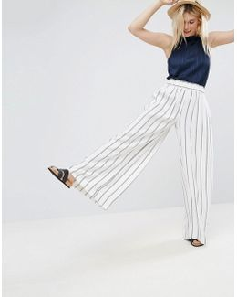 Tailored Uber Wide Leg Crepe Pants In Red And Navy Stripe