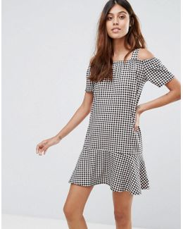 Gingham Dress With Cold Shoulder And Ruffle Hem