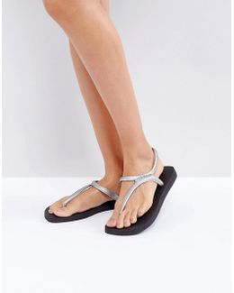 Flash Urban Silver And Black Sandals