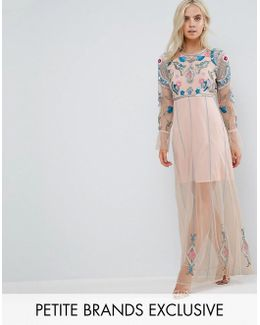 Floral Embroidered Mesh Maxi Dress With Gathered Cuff And Open Back Detail