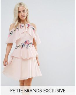Floral Embroidered Cold Shoulder Tiered Mini Dress With Open Back Detail