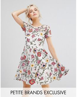 Floral Embroidered Mini Skater Dress With Cap Sleeves & High Low Hem