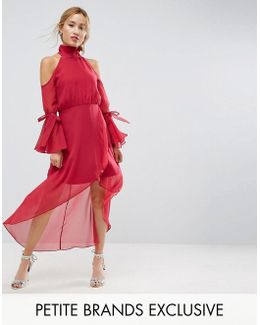 Premium Cold Shoulder Wrap Front Midi Dress With Fluted Sleeve Detail