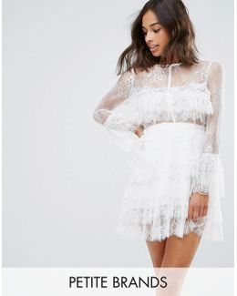 Lace Ruffle Dress With Bell Sleeves
