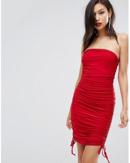 Slinky Bandeau Ruched Detail Dress