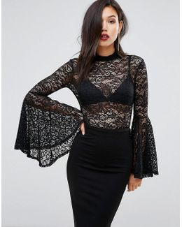 Lace Bodysuit With Exaggerated Sleeves
