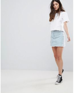 Denim Skirt With Front Pockets