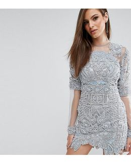 All Over Embellished Mini Dress With Mesh Sleeves