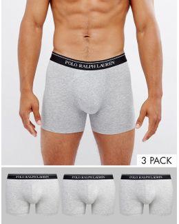 Trunks In 3 Pack Longer Length In Grey