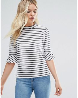 High Neck Stripe Top