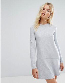 Sweatshirt Dress With Fluted Hem