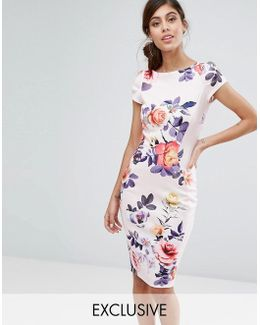 Closet Pencil Dress With Ruched Cap Sleeve In Occasion Print