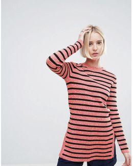 Michi Rib Striped Long Sweater