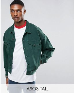 Tall Oversized Denim Jacket In Bottle Green
