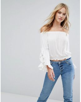 Fluted Sleeve Bardot Top