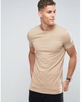 Longline Muscle T-shirt With Crew Neck In Brown