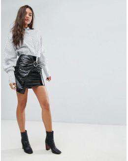 Vinyl Buckle Detail Mini Skirt
