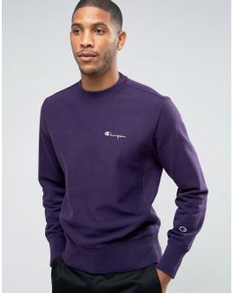 Sweatshirt With Small Script Logo In Purple