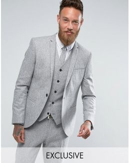 Skinny Suit Jacket In Fleck Donegal
