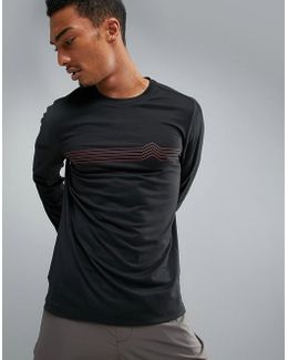 360 Sports Long Sleeve Top Heartbeat Print In Black