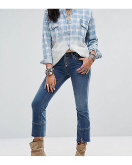 Cropped Button Front Jean