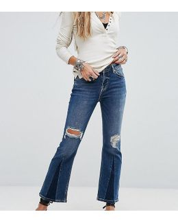 Colour Blocked Cropped Flare Jean