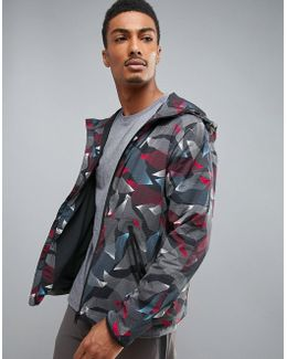 360 Running Jacket Linear Camo Print In Heritage Blue